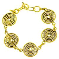 Messing Brass Armband golden Spiralen nickelfrei 18-20 cm verstellbar antik Trib