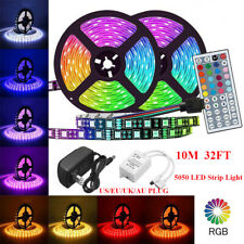 16/32ft Flexible Strip Light 5050 RGB LED SMD Remote Fairy Lights Room Party Bar