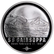 S.S. GAIRSOPPA SHIPWRECK .999 FINE SILVER ONE TROY OUNCE BULLION CERTIFIED ROUND