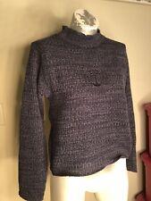 Vintage B.U.M. Equipment Sweater Womens blue knit ribbed LARGE mock turtleneck