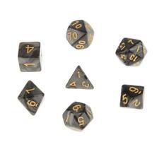 Set/7pcs Black Acrylic Multi Sided Dice TRPG Games Dungeons & Dragon D4-D20