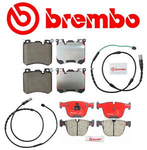 Front Brake Pads & Rear Brake Pads Ceramic OEM Brembo +Sensor BMW X5 X6 11-18
