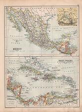 1901 VICTORIAN MAP ~ MEXICO GUATEMALA HONDURAS WEST INDIES CUBA JAMAICA BAHAMA