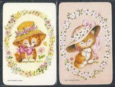 #915.054 Blank Back Swap Cards -MINT pair- Kittens with hats & flowers