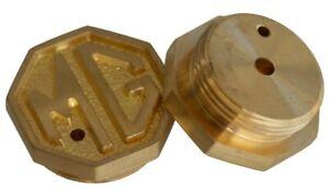MG logo SU carburetor caps in solid brass (pair)