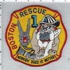 Boston Fire Department (Massachusetts) Rescue 1 Yellow Shoulder Patch version 2