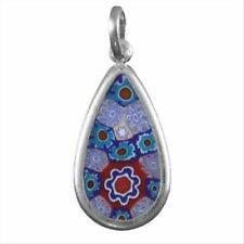Murano Glass Millefiori Teardrop Flower Pendant