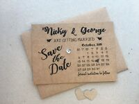 Personalised Wedding Save The Date Cards Magnet Envelopes Diamante Kraft KHD7901