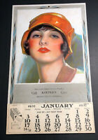 Full Pad 1932 Calendar Pretty Flapper Girl Koepke's Of Browns Valley Minnesota