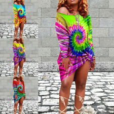 Plus Size Womens Boho Tie Dye Dress Ladies Beach Casual Long Sleeve Sundres UK