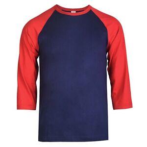 Men's New Baseball T-Shirt Premium Cotton Raglan 3/4 Sleeve Two Tone Jersey Tee