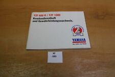 Yamaha YZF600R YZF1000R  Kundendienstheft Scheckheft xf583