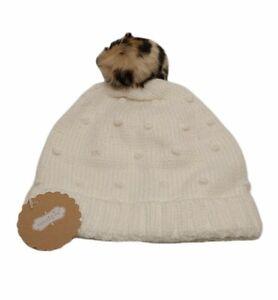 Mud Pie Toddler Girl Winter Hat Ivory  Nubby Knit With Leopard Pom Pom Sz 2T-5T