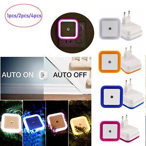 1/2/4 Pcs US EU Plug-in Auto Sensor Control LED Night Lights Lamp for Bedroom RC