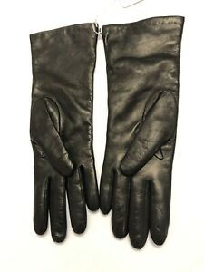 """Portolano Dark Brown Leather 100% Cashmere Lined 11"""" Women's Gloves Size: 7 NEW"""
