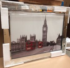 Big ben with two Buses on Mirrored Frame Wall Mirror 95x74 Cm home decor/gift