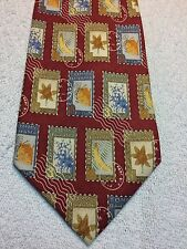 TOMMY BAHAMA MENS TIE 4.25 X 58 RED WITH BLUE AND GOLD STAMP PATTERN NWOT