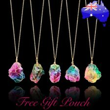 Rainbow Stone Natural Crystal Quartz Chakra Rock Healing Gold Pendant Necklace