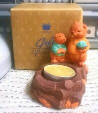 Avon Gift Collection Fireside Friends Candle Holder W/ Autumn Spice Candle Nib