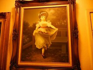 """Oil on Canvas Painting GIRL PRANCING FLOWERS IN DRESS Signed Patierno 20"""" X 24"""""""