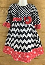 df80338f0e2 Counting Daisies Girls Dress 3T Black Red White Flower Zig Zag Dressy