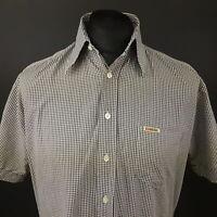 Diesel Mens Vintage Shirt MEDIUM Short Sleeve Grey Regular Fit Check Cotton