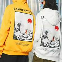 Law of Nature Hoodie The Great Wave of Kanagawa Cat Streetwear Painting Artwork
