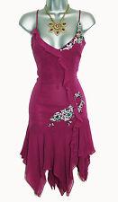 KAREN MILLEN púrpura Seda para Noche Cóctel Vestido Adornado UK 12 EU 40