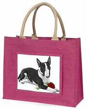 Bull Terrier Dog with Red Rose Large Pink Shopping Bag Christmas P, AD-BUT2R2BLP