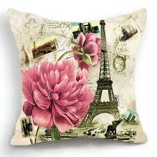 Retro Vintage Paris Eiffel Tower Floral Home Decor Pillow Case Cushion Cover