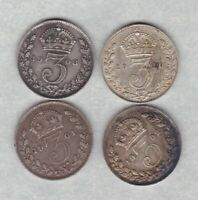 FOUR 1901/1902/1908 & 1910 SILVER THREE PENCE COINS IN VERY FINE CONDITION