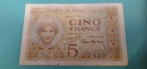 Top Billet 5 Francs Madagascar 1937