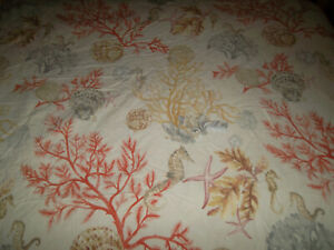 Pottery Barn Atlantic Full/Queen Duvet Set Seashells Coral Sea Horse Sand Dollar