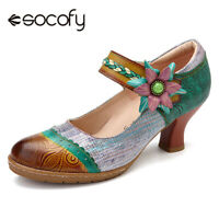 SOCOFY Women Bohemia Pattern Splicing Weave Floral Genuine Leather Shoes
