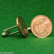 Irish Celtic Bird Coin Cufflinks, Bronze Penny (Small) Ireland