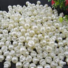 10 Perlen Acryl Knöpfe. Perlmut Weiß 10 mm Rund.Leicht.