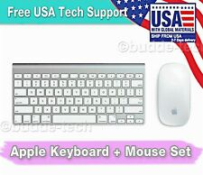 Genuine Apple Keyboard and Mouse Set - Wireless Bluetooth Aluminum White AA Batt