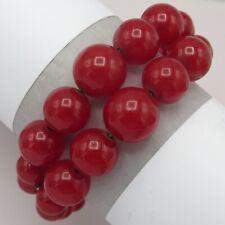 Vtg 1940s Retro Cherry Red Bakelite Bead Wide Wrap Cuff Bracelet