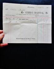 1903 Antique Medical Bill GERMAN HOSPITAL, PHILADELPHIA, PA - Lankenau Medical