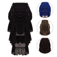 Vintage Victorian Steampunk Ruffle Skirt Gothic Lace Up High Low Flounces Skirt