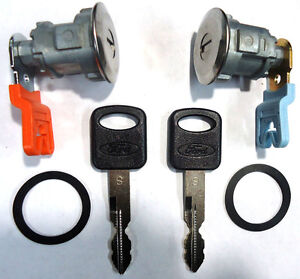 Ford Replacement 2 (Pair) Door Key Lock Cylinder Set W/2 Ford OEM Logo Keys