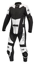 Neue, hochwertige Lederkombi Kurzgröße zweiteilig schwarz weiß Leather Suit