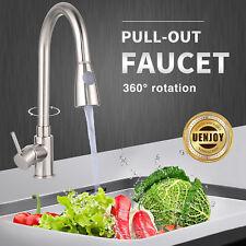 Modern Chrome Kitchen Sink Faucet Pull-Out Spray Swivel Spout Dispenser