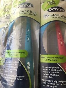 6X DENTEK COMFORT TONGUE CLEANER REMOVE BAD BREATH CAUSING BACTERIA MINT FLAVOR