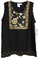 NWT Globe Trotter Women's Small Black Sleeveless Rayon BOHO Batik Style Blouse