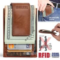RIFD Slim Thin Mens Leather Wallet Money Clip Credit Card ID Holder Front Pocket