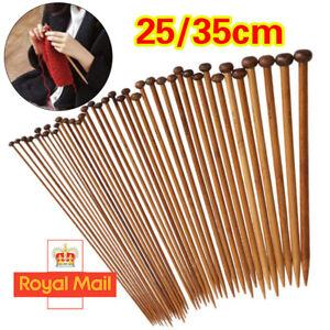 36PCS/Set 18 Sizes Single Pointed Carbonized Bamboo Knitting Needles 2 - 10mm W