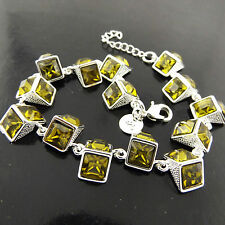 A527 GENUINE REAL 925 STERLING SILVER S/F YELLOW CITRINE TENNIS BRACELET BANGLE