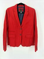 J. Crew Size 10 School Boy Blazer Herringbone Red Jacket Womens 2 Button Holiday