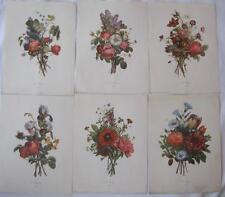 """Jean-Louis Prevost Bouquets 1945 Set of 6 Etching-Tone Art Prints Color 9""""x12"""""""